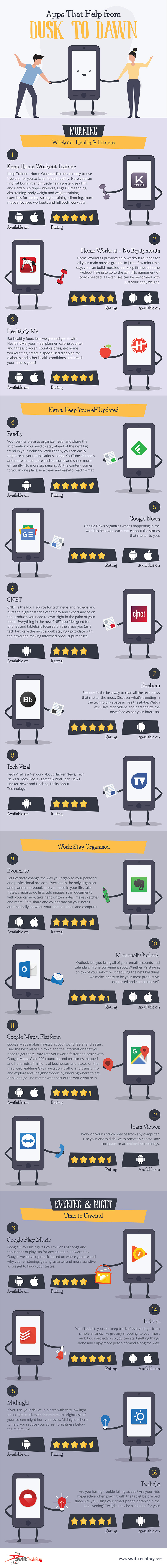 Apps that Help from Dusk to Dawn - Infographic